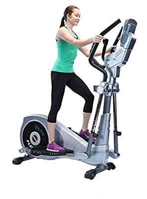 """GOELLIPTICAL V-600 Standard Stride 17"""" Elliptical Exercise Cross Trainer Machine for Cardio Fitness Strength Conditioning Workout at Home or Gym"""