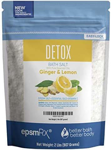 Detox Bath Salt 32 Ounces Epsom Salt with Ginger and Lemon Essential Oils Plus Vitamin C and All Natural Ingredients