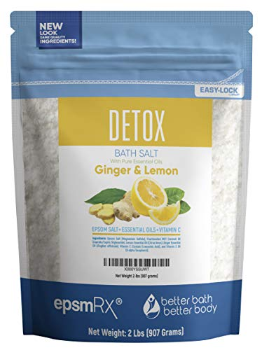 (Detox Bath Salt 32oz Epsom Salt Bath Soak with Ginger and Lemon Essential Oil and Vitamin C All Natural No Perfumes No Dyes)