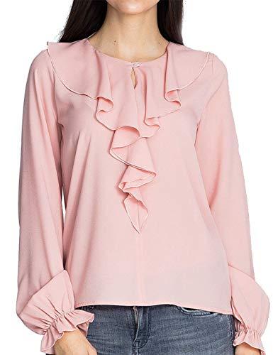 Tunique Femme Soie Tops Manche Tee Chic Taille Hauts Chemise Rose Longue Ruffle Mousseline Casual T bouriffer de Chemisier lgant Grande Blouse Shirts Zd0Tnqw