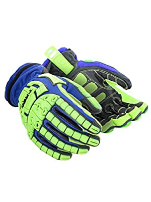 Magid Insulated Winter Work Gloves   Leather Coated Cut Resistant Impact Safety Gloves with Thermal Liner & Waterproof Membrane - Blue/Green, Size Large (1 Pair)
