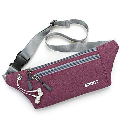 8243e942551b Outdoor Sport Waist Pack Bags Neutral Pure Color Oxford Cloth Crossbody Bag  Chest Bag Phone Bag Zipper (E)