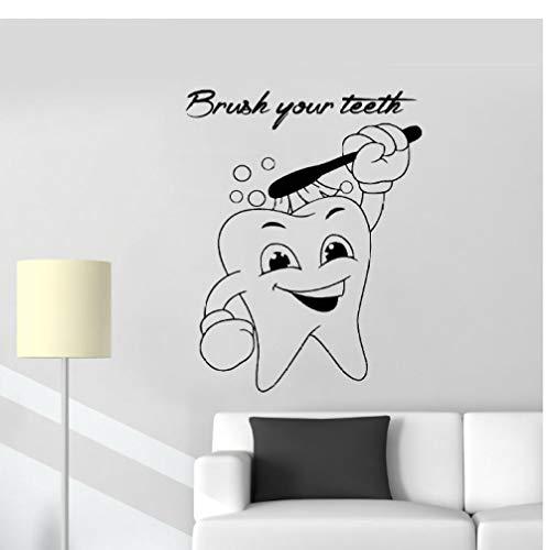dwxnzbz Dental Wall Sticker Brush Your Teeth Vinyl Cute Tooth Applique Bathroom Waterproof Wall Decal 42X53Cm