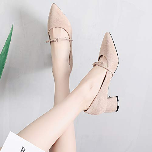 Autumn High With Girl Single High Apricot With Heels Thick Pointed Bow Wild Shoes Yukun heels Female Fairy Ix1qwHH
