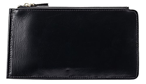 Heshe Leather Card Case Long Wallet for Women Lady Zippered Clutch with 12 Credit Card Slots (Black)