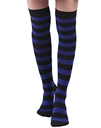 Women's Extra Long Striped Socks Over Knee High Opaque Stockings (Black & Blue)