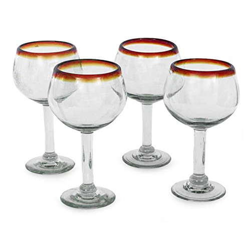 NOVICA Hand Blown Clear Brown Recycled Glass Wine Glasses, 12 oz 'Amber Globe'(set of 4) ()