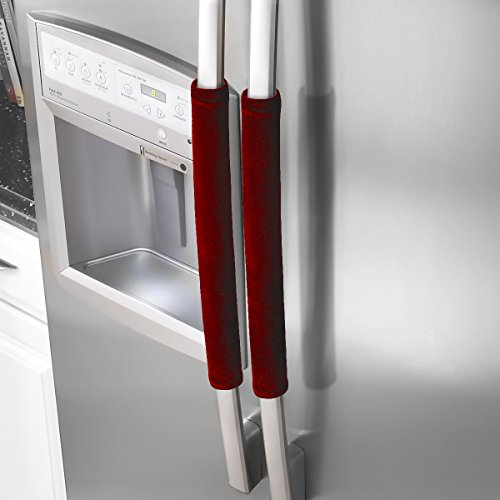 Ougar8 Refrigerator Dust Door Handle Covers - Catches Drips, Smudges and Fingerprints Leaving Kitchen Appliances Shiny (Dark red/Burgundy))