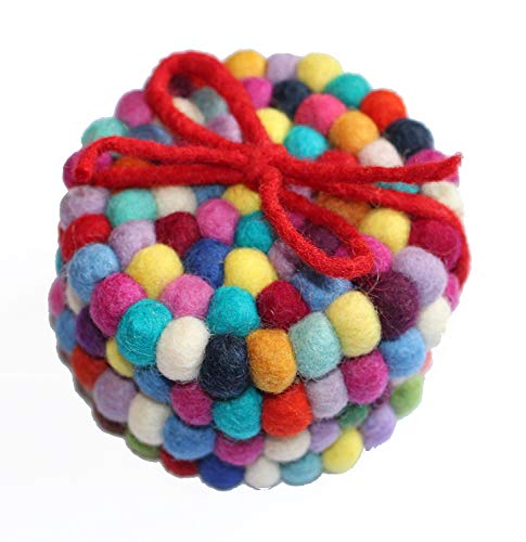 Pack of Felt Ball Coaster (Pack of 4). Hand Made in Nepal with 100% New Zealand Wool. A Gorgeous pop of Color to Brighten Any Room with Natural Materials and ()