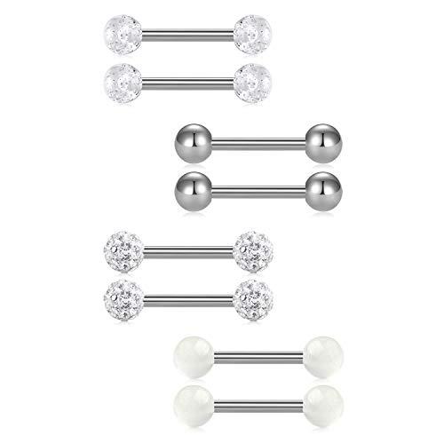 (FECTAS 14G Nipplerings Piercing Barbells Surgical Stainless Steel Straingt Barbell Nipple Tongue Rings Jewelry )