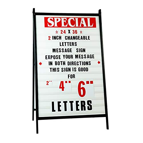 """Sidewalk A Frame Changeable Letters Message Sign - Roadside Reader Board Sandwich Board Sidewalk Sign with 2-inch Letters Set Portable Signs for Outside Sidewalk Sign for Business 24""""x 36"""""""