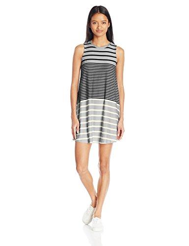 Derek Heart Junior's Engineer Stripe Trapeze Dress, Grey L