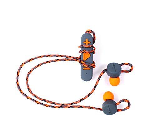 Boompods Retrobuds in-Ear Bluetooth Workout Headphones Grey Orange Wireless Adjustable Earbuds – Powerful Bass – Sweatproof