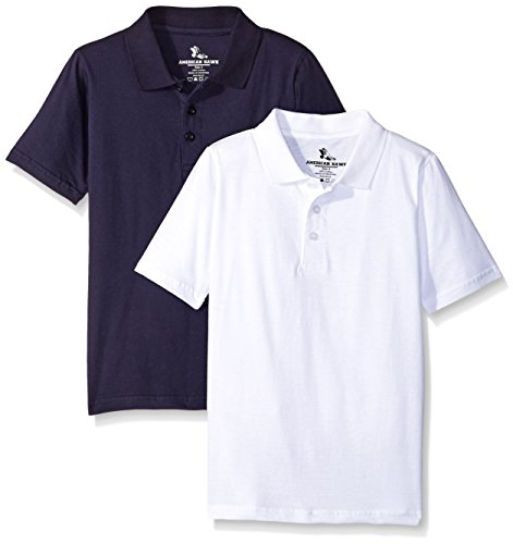 American Hawk Little Boys 2 Piece Pack Polo Shirt, Navy/White, 5/6