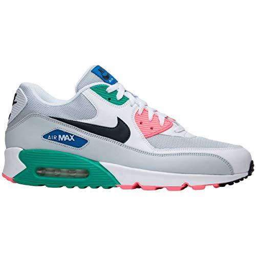 Nike Men Air Max Ltd - NIKE Men's Air Max 90 Running Shoe White/Obsidian-Pure Platinum-Blue Nebula 10.5