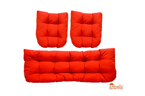 3 Piece Wicker Cushion Set - Indoor / Outdoor Wicker Loveseat Settee & 2 Matching Chair Cushions - Sunbrella Canvas Jocky Red by Resort Spa Home Decor