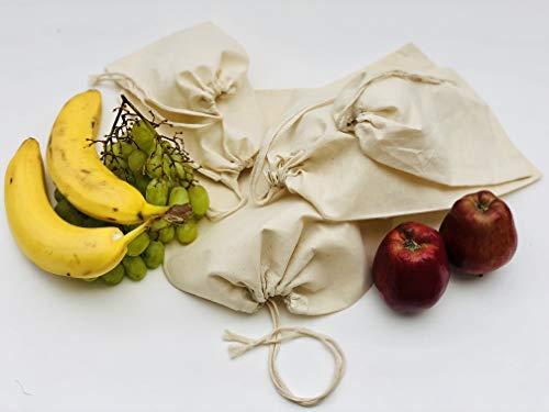 Cotton Muslin Single Drawstring Bags. 100% Organic Cotton Reusable Premium Muslin Bags. Pack of 25 (8 x 12 Inches)