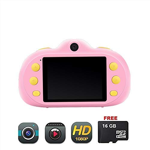 Haoyajia Time-Limited Lowest Price Kids Camera Gifts Shockproof Cameras Great Gift Mini Child Camcorder for Little Girl with Soft Silicone Shell for Outdoor Play (16GB Memory Card Included) (Pink)