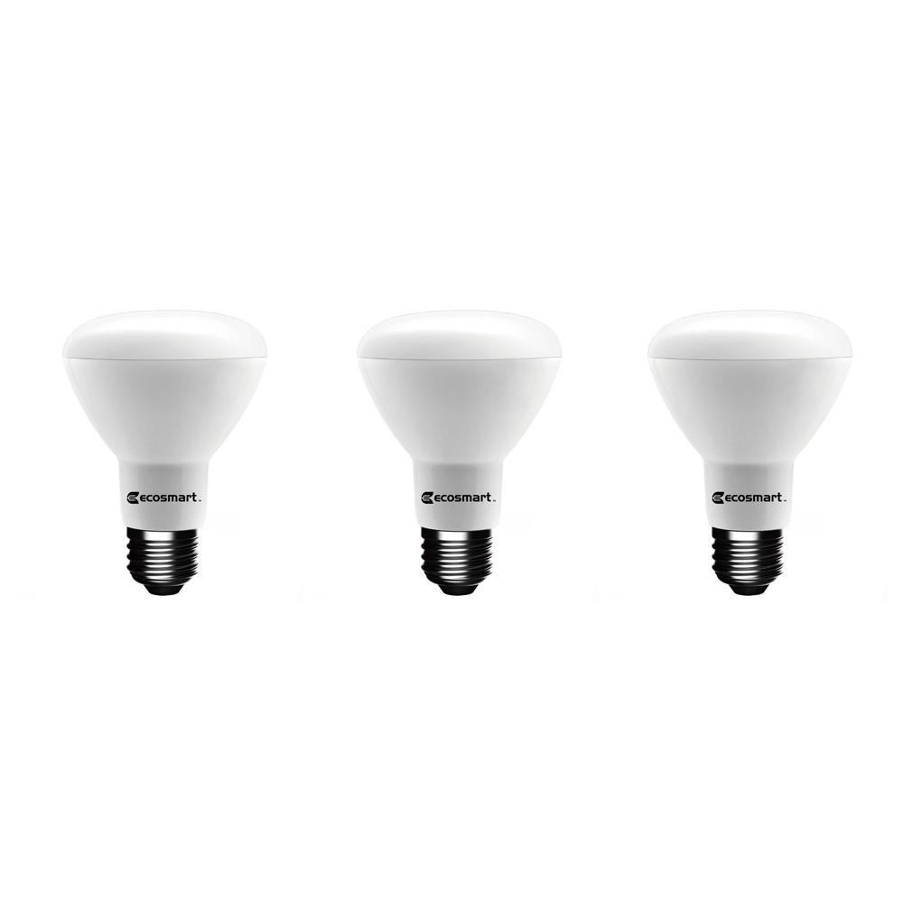 EcoSmart 75-Watt Equivalent BR20 Dimmable LED Light Bulb Soft White (3-Pack)