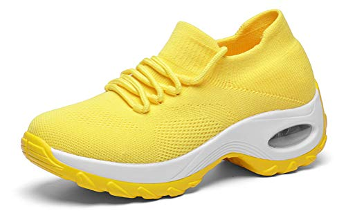 GZTEESER Platform Comfortable Mesh Walking Shoes for Women's Breathable Slip on Fashion Sneakers Yellow Size 8.5 (Platform Shoes Yellow)