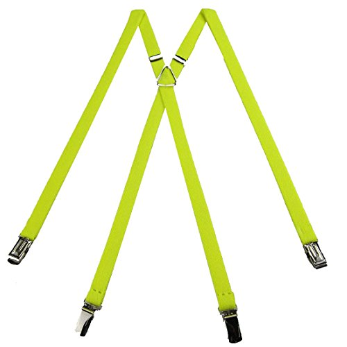 SUS-704-FYEL - Flourescent Yellow - Skinny Solid Suspender for Men Made in USA X-Back Metal Trimmed clip end narrow tuxedo suspenders