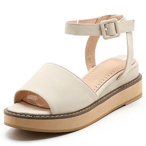 COOLCEPT Mujer Moda Ankle Strap Sandalias Punta Abierta Tacon de cuna Slingback Zapatos Beige