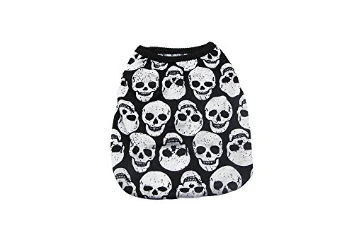 - YAODHAOD Dog Fashion T-Shirt, White Skull Vest, Spring/Summer Pet Clothes Puppy Cat Pet Clothes (M, 2)
