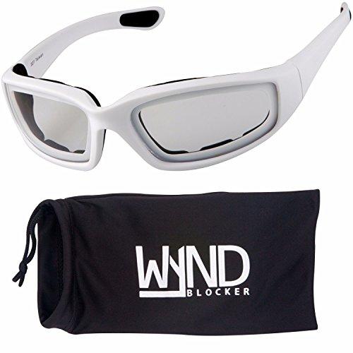 WYND Blocker Motorcycle & Biking Wind Resistant Sports Wrap Sunglassess (White / Clear - Shop Sunglassess