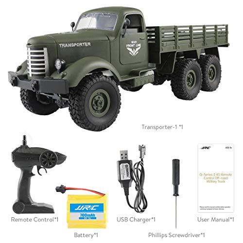 Staron  Remote Control Truck Toy for Boys, JJRC Q60 RC 1:16 2.4G Remote Control 6WD Tracked Off-Road Military Truck Car RTR Toys (Green) -