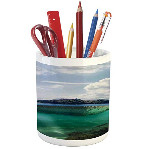 Pencil Pen Holder,Ocean Island Decor,Printed Ceramic Pencil Pen Holder for Desk Office Accessory,Floating Rock and Lighthouse in Crystal Clear Atlantic Water Mist Nature Photo ()
