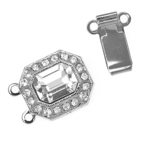 Elegant Elements Rhodium Plated 2-Strand Box Clasp With SWAROVSKI ELEMENTS 22x12mm