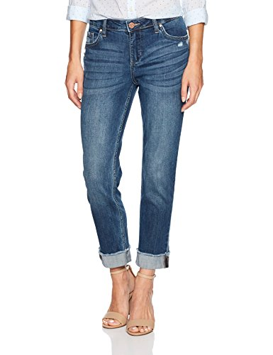 - Riders by Lee Indigo Women's Fringe Cuff Boyfriend Jean, mid Shade, 8