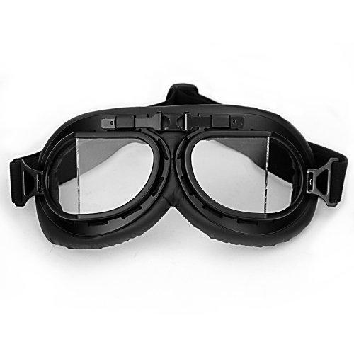 WWII RAF Vintage Pilot Style Black Frame Motorcycle Biker Café Racer Cruiser Helmet Goggles