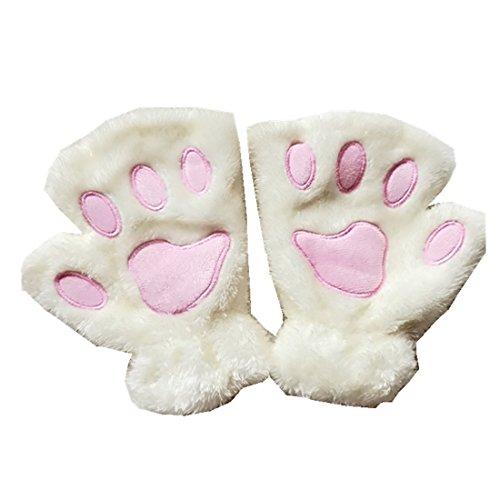 MizHome Cat Bear Plush Claw Paw Mitten Soft Winter Gloves Costume White -