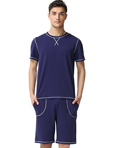 Man Comfy Homewear Nightclothes Pajamas Top with Shorts Pjs Suits,Navy Blue XL