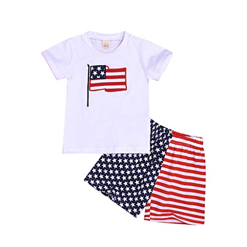 Zlolia Toddler Boys&Girls USA Print Print 2 Piece Short Set with Stretch Shorts Babes July 4Th Patriotic Clothes -