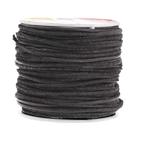 (Mandala Crafts Round Suede Cord for Jewelry Making, Genuine Cowhide Leather Rope for Beading, Braiding, DIY Crafting (1.5mm 20 Yards, Black) )
