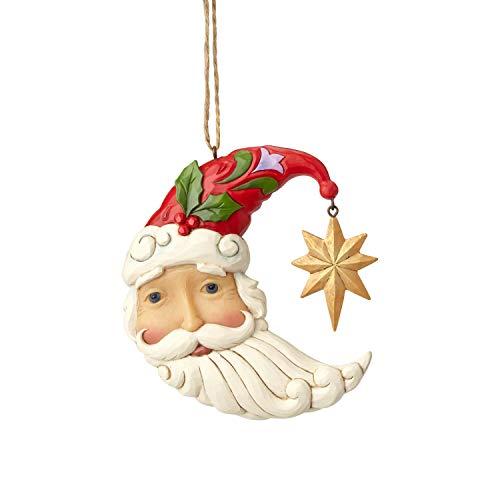 (Enesco Jim Shore Heartwood Creek 6001503 Crescent Moon Santa Ornament, Multicolor)