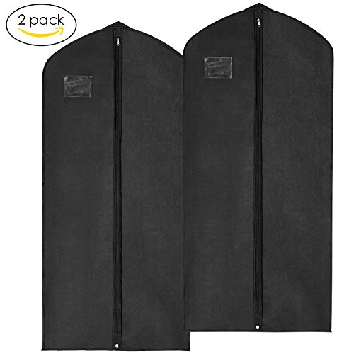 Garment Bags, MaidMAX Breathable Suit Dress Covers with Clear Plastic Label Holders and Full-Length Zipper for Clothes, 54-Inch-High, 2-Pack