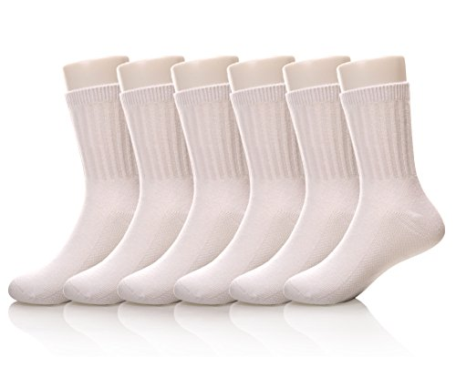 (MIUBEAR Unisex Toddler Big Boys Girls Ribbed Cotton Classic Crew Sock 6 Pack (3-5 Year Old, White))