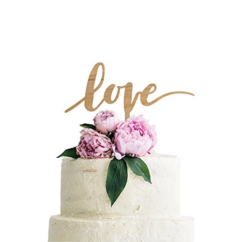 (P Lab Love Wedding Cake Topper Rustic Wood Decoration Keepsake Engagement Favors for Special Event Ply Wood)