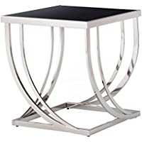 Anson Steel Brushed Arch Curved Sculptural Modern End Table in Chrome, Temper Glass Finish