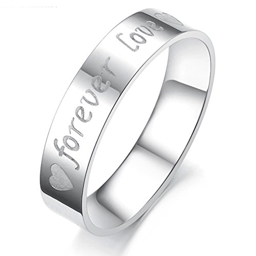 """Give Gift Jewelry Stainless Steel Engraved """"Forever Love"""" Couples Promise Rings Men Women Wedding Bands (Men's Size 11)"""