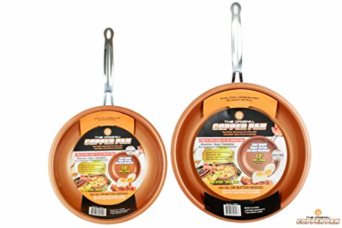 Copper pan 10 Inch 12 inch set Round Nonstick Pan, As seen on TV