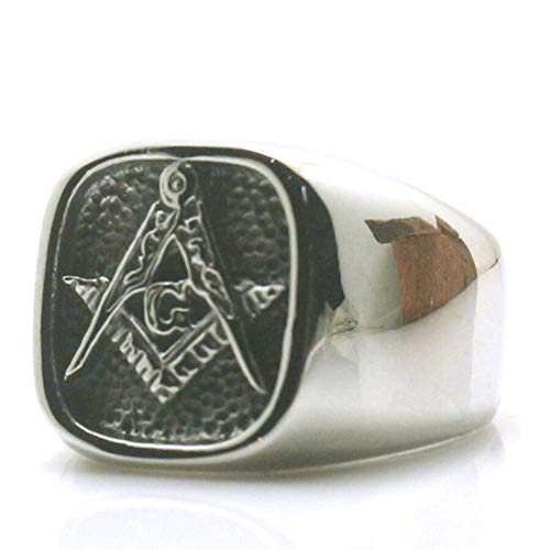 Ring Men Handmade 316L Stainless Steel - Freemason Rings For Men Cross Eagle Square and Compasse - Masonry Ring Unique Special Jewelry Gift For - Masons Black Onyx Masonic