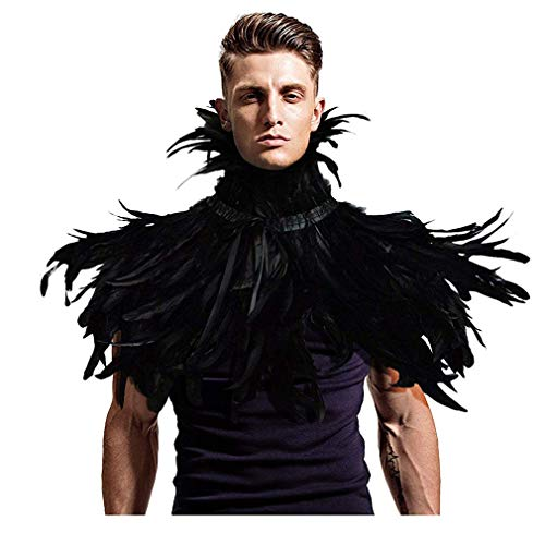 L'VOW Gothic Black Feather Shrug Cape Shawl Halloween Costume for Men (Style -02) -