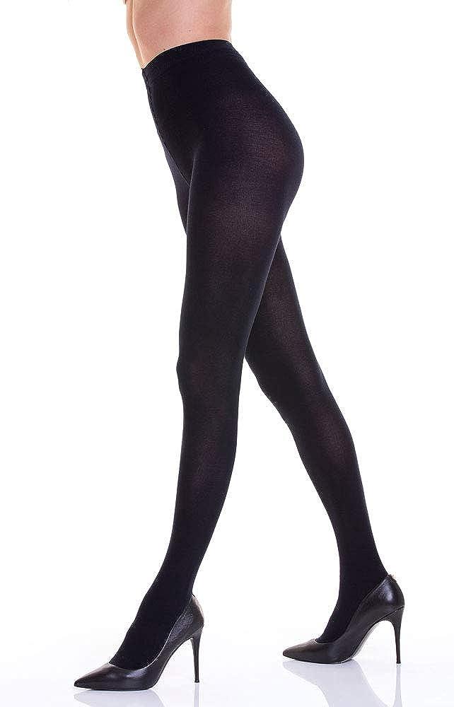 disponibile anche nei colori melange resistente calza calda WOOTI Collant CAPRESE in cotone 90 den coprente adatta alla stagione invernale morbida