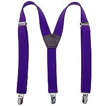 Kids Men Elastic Leather Suspenders - Metal Clips Solid Color Adjustable Braces