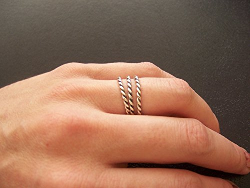 Sterling silver twisted rope ring trio set ()