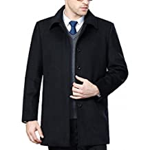 FASHINTY Men's Classical Bussiness Style Turndown Collar Wool Coat #00237
